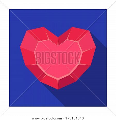 Heart-shaped gemstone icon in flat design isolated on white background. Precious minerals and jeweler symbol stock vector illustration.