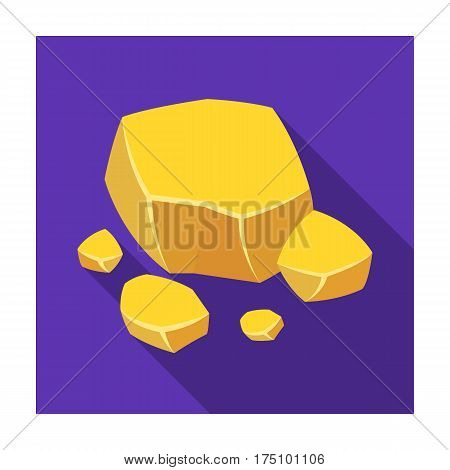 Copper ore icon in flat design isolated on white background. Precious minerals and jeweler symbol stock vector illustration.