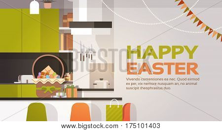 Kitchen Interior Easter Basket Decorated Colorful Eggs Holiday Symbols Greeting Card Vector Illustration