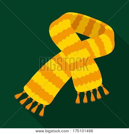 Yellow striped wool scarf.Scarves and shawls single icon in flat style vector symbol stock web illustration.