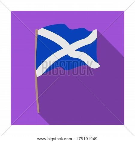 Flag of Scotland icon in flat design isolated on white background. Scotland country symbol stock vector illustration.