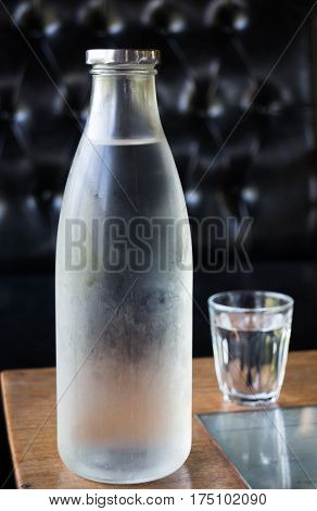 Bottle And Glass Cold Water stock photo