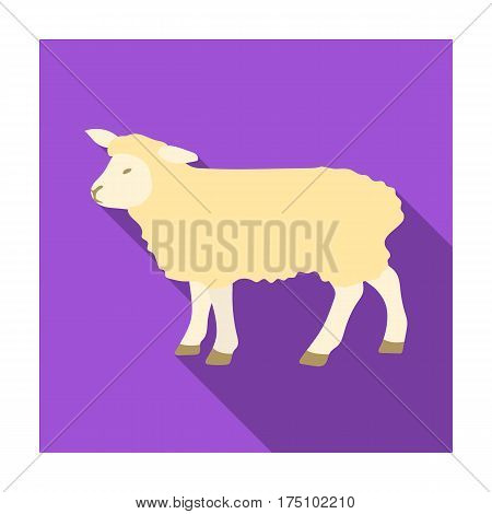 Sheep icon in flat design isolated on white background. Scotland country symbol stock vector illustration.