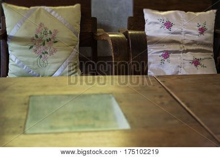 Vintage Retro Wooden Oriental Furniture stock photo