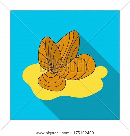 Mussels icon in flat design isolated on white background. Sea animals symbol stock vector illustration.