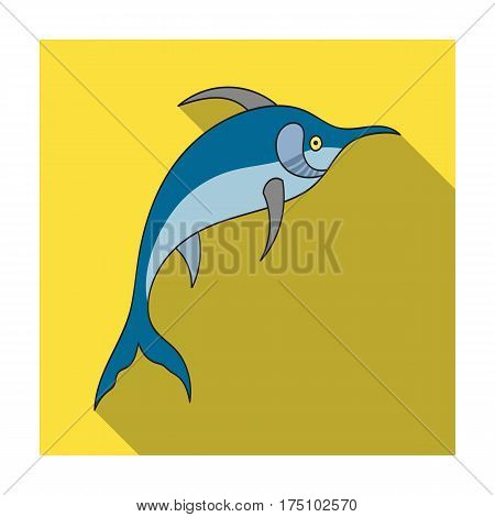 Marlin fish icon in flat design isolated on white background. Sea animals symbol stock vector illustration.