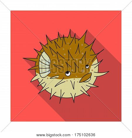 Porcupine fish icon in flat design isolated on white background. Sea animals symbol stock vector illustration.