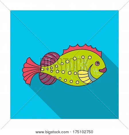 Sea fish icon in flat design isolated on white background. Sea animals symbol stock vector illustration.