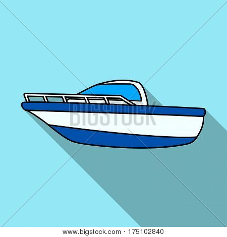 Blue metal boat.Police boat.A means of transportation on water.Ship and water transport single icon in flat style vector symbol stock web illustration.