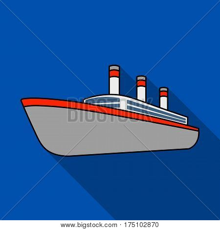 Huge cargo black liner.Ship for transportation of heavy thunderstorms on the sea and the ocean .Ship and water transport single icon in flat style vector symbol stock web illustration.