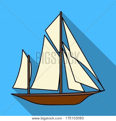 Vintage boat explorers.Sailboat on which ancient people traveled around the Earth.Ship and water transport single icon in flat style vector symbol stock web illustration.