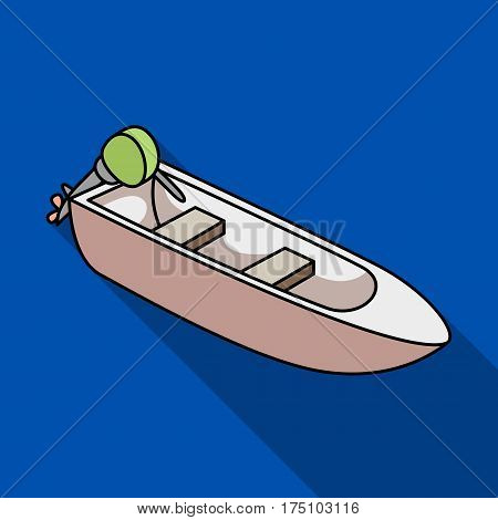 Small metal boat with motor for fishing.Boat for river or lake fishing.Ship and water transport single icon in flat style vector symbol stock web illustration.