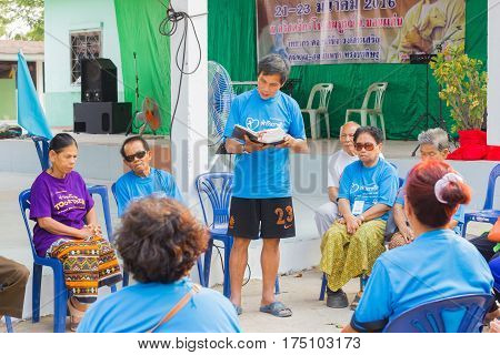 CHIANG RAI THAILAND - FEBRUARY 20 : unidentified people praying with holy bible on February 20 2016 in Chiang rai Thailand.