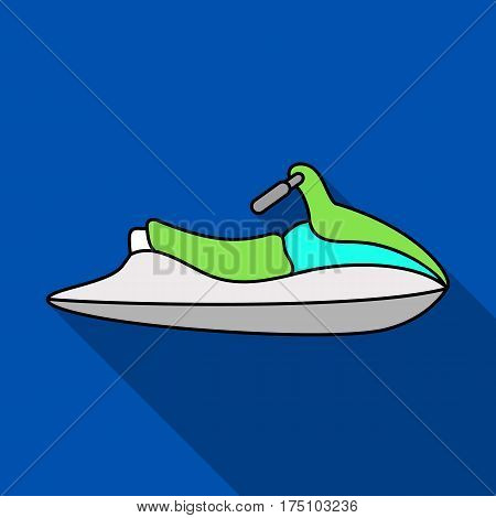 Water scooter for entertainment.Water transport for two people.Ship and water transport single icon in flat style vector symbol stock web illustration.
