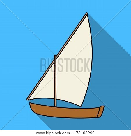 Little river sailing for fun.The boat which sails through the wind.Ship and water transport single icon in flat style vector symbol stock web illustration.