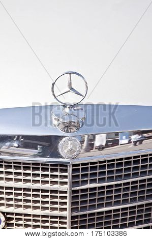 RUSSIA MOSCOW - April 24.2016: Hood of old rarity of the German car with an emblem Mercedes-benz