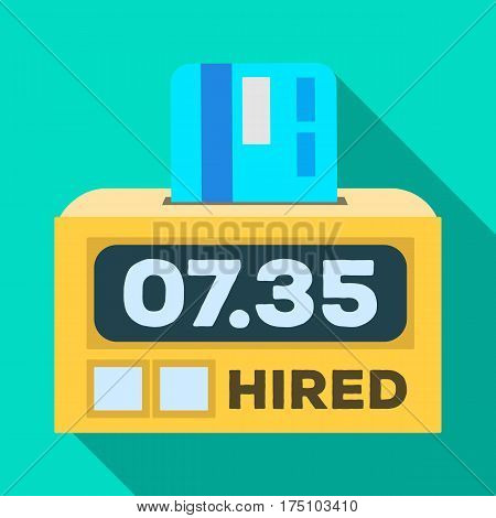 Yellow taxi counter with bank card.A device for measuring and calculating the cost of travel in a taxi. Taxi station single icon in flat style vector symbol stock web illustration.