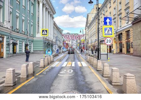 MOSCOW RUSSIA - April 24.2016: Old street Bolshaya Dmitrovka in the historical center of city
