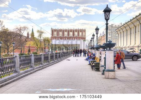 MOSCOW RUSSIA - April 24.2016: Old Manezhnaya street in the historical center of city