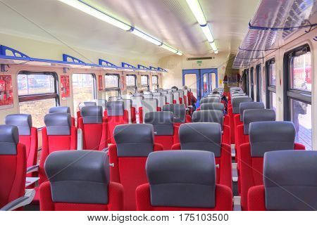 RUSSIA MOSCOW - March 24.2015: Comfortable spacious salon of modern high-speed train Aeroexpress