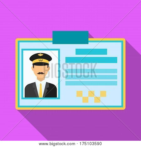 Driver document taxi.Plastik card taxi driver with photo Taxi station single icon in flat style vector symbol stock web illustration.