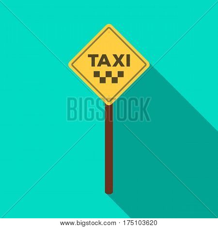 Taxi stop road sign. Parking zone for yellow taxi. Taxi station single icon in flat style vector symbol stock web illustration.