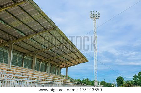 Stadium bleachers and pressbox form mid field