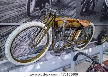 Los Angeles CA USA -- March 4 2017: Olive 1920 Harley-Davidson Board Track Racer Motorcycle at the Petersen Automotive Museum in Los Angeles California United States. Editorial only.