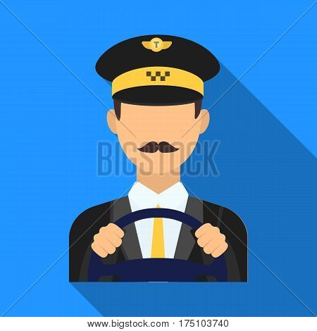 Taxi driver wearing a cap. Man is driving a taxi car. Taxi station single icon in flat style vector symbol stock web illustration.