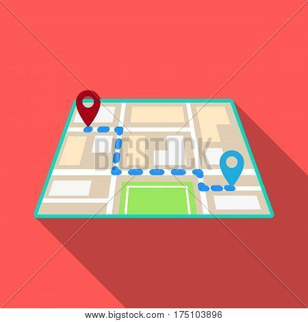 Map with the route taxi movement.Taxi station navigator for conveying passengers. Taxi station single icon in flat style vector symbol stock web illustration
