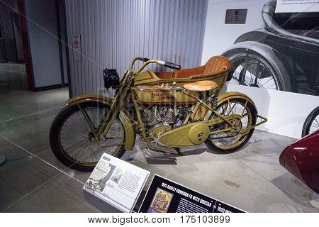 Los Angeles CA USA -- March 4 2017: Green 1922 Harley-Davidson FD motorcycle with sidecar at the Petersen Automotive Museum in Los Angeles California United States. Editorial only.