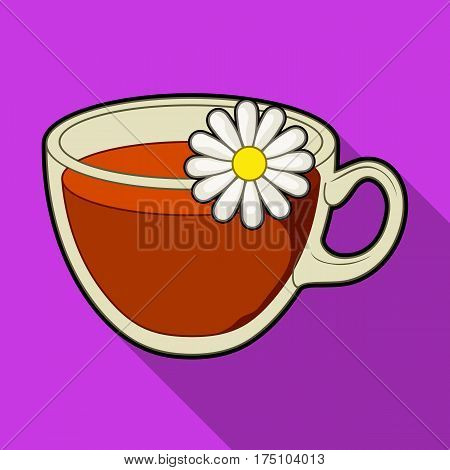 Glass mug with tea useful.Vegetarian therapeutic chamomile tea.Vegetarian Dishes single icon in flat style vector symbol stock web illustration.