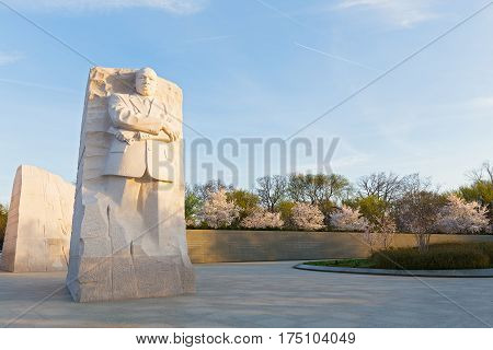 WASHINGTON DC USA - MARCH 24 2016: Martin Luther King Jr Memorial during cherry blossom festival in Washington DC at dawn on March 24 2016. The memorial opened to the public on August 22 2011.