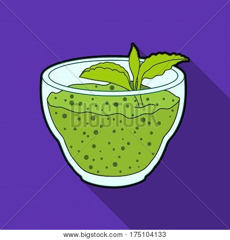Fresh puree of greens with a mint leaf .Vegetarian Breakfast of greens.Vegetarian Dishes single icon in flat style vector symbol stock web illustration.