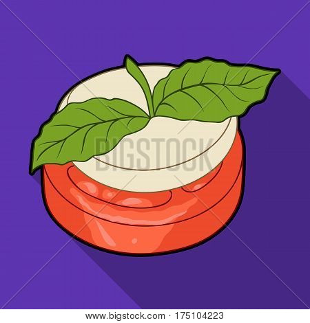 Sandwich vegetarian cuisine.Hamburger tomato and cheese with a leaf of mint.Vegetarian Dishes single icon in flat style vector symbol stock web illustration.