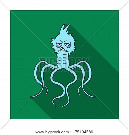 Blue virus icon in flat design isolated on white background. Viruses and bacteries symbol stock vector illustration.