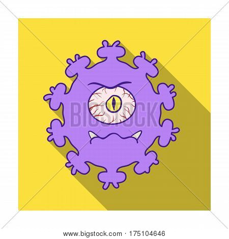 Purple virus icon in flat design isolated on white background. Viruses and bacteries symbol stock vector illustration.