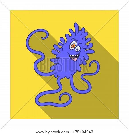 Violet virus icon in flat design isolated on white background. Viruses and bacteries symbol stock vector illustration.