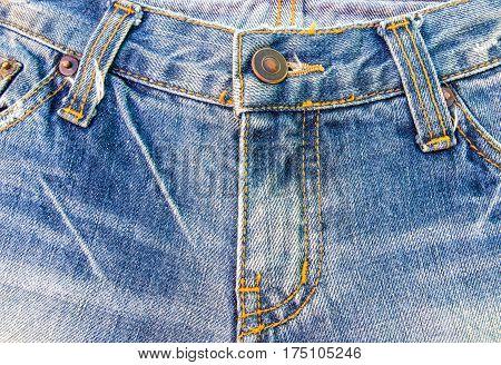 Close up fasion jean denim zipper for background