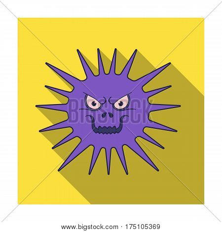 Gray virus icon in flat design isolated on white background. Viruses and bacteries symbol stock vector illustration.