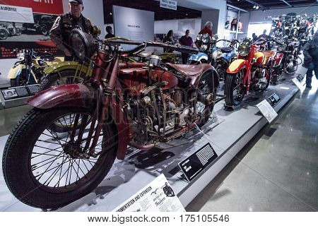 Los Angeles CA USA -- March 4 2017: Red 1927 Indian Ace motorcycle at the Petersen Automotive Museum in Los Angeles California United States. Editorial only.