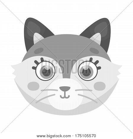 Fox muzzle icon in monochrome design isolated on white background. Animal muzzle symbol stock vector illustration.