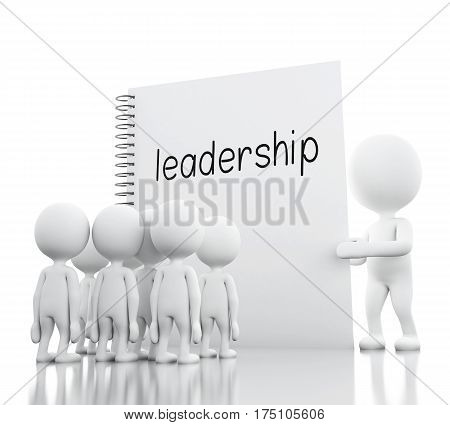 3D White People Leadership And Notepad With Leadership.