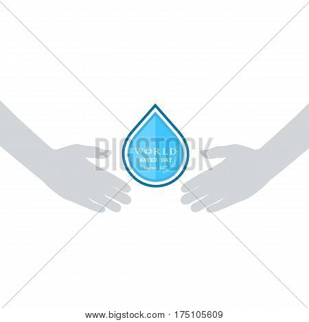 Water drop with human hand icon vector logo design template.World Water Day idea campaign for greeting card and poster.Vector illustration