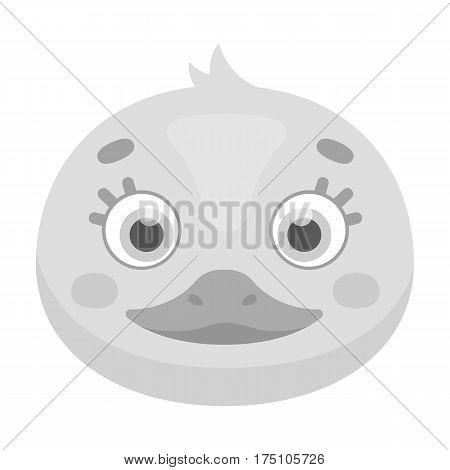 Duck muzzle icon in monochrome design isolated on white background. Animal muzzle symbol stock vector illustration.