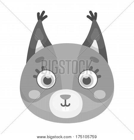 Squirrel muzzle icon in monochrome design isolated on white background. Animal muzzle symbol stock vector illustration.