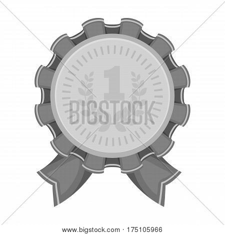 The award for first place.Gold medal with the red ribbon of the winner Olympics.Awards and trophies single icon in monochrome style vector symbol stock web illustration.