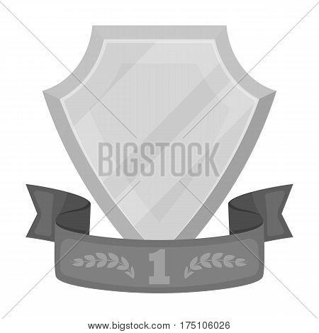 Golden award with red ribbon.The medal of valor.Awards and trophies single icon in monochrome style vector symbol stock web illustration.