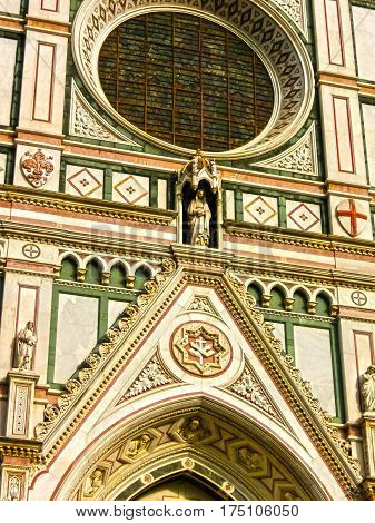 The detail of Basilica di Santa Croce or Basilica of the Holy Cross - famous Franciscan church on Florence, Italy