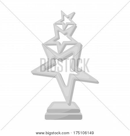 The reward in the form of gold stars on a stand. The award winner of the singing contest.Awards and trophies single icon in monochrome style vector symbol stock web illustration.